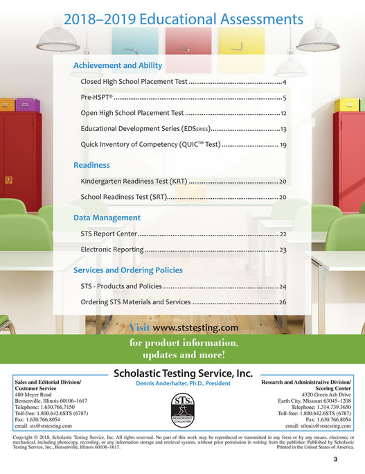 Scholastic Testing Service, In - Educational Assessments 2018-19