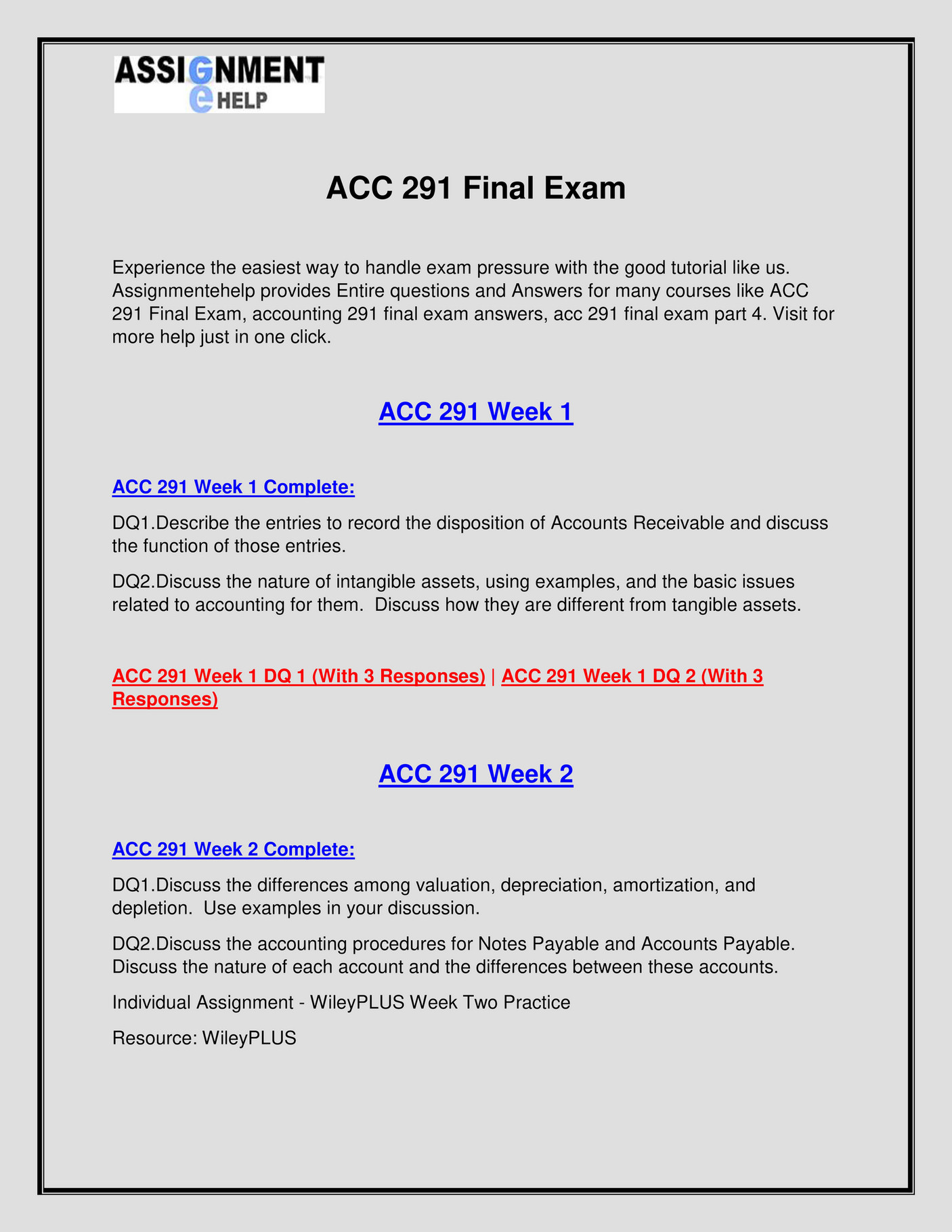 Assignment E Help - ACC 291 Final Exam - Page 2-3 - Created