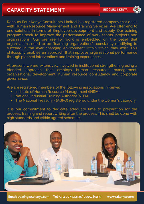 Recours Four Kenya Consultants - LEADERSHIP AND MANAGEMENT