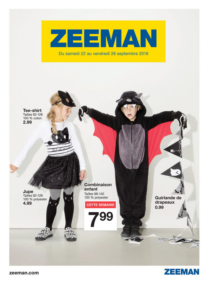 Folder Zeeman du 22/09/2018 au 28/09/2018 - Promotions de la semaine 39