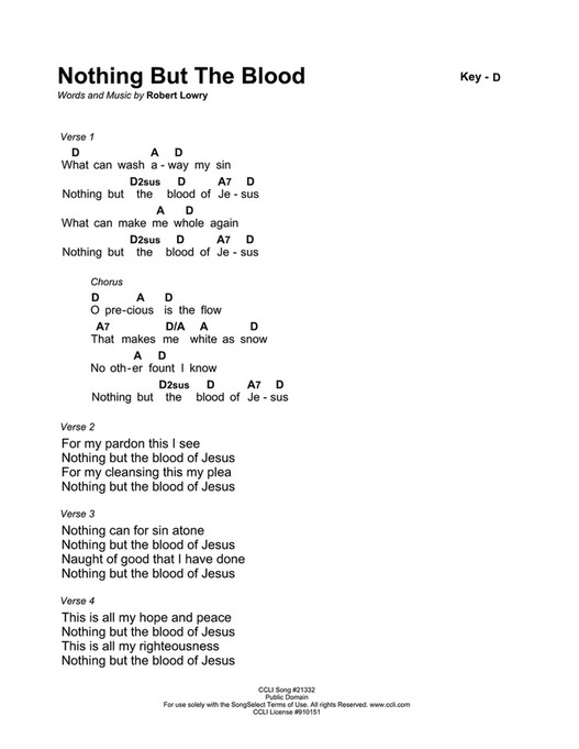 By Photo Congress || Nothing But The Blood Of Jesus Chords Pdf
