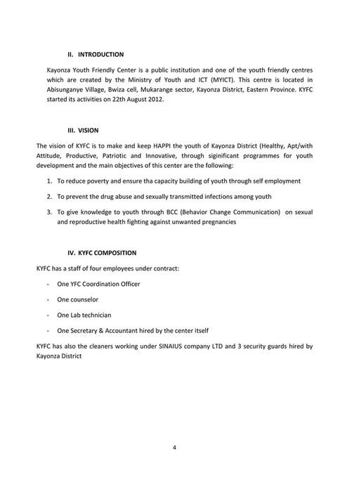 My publications - KAYONZA YOUTH FRIENDLY CENTER KYFC NARRATIVE