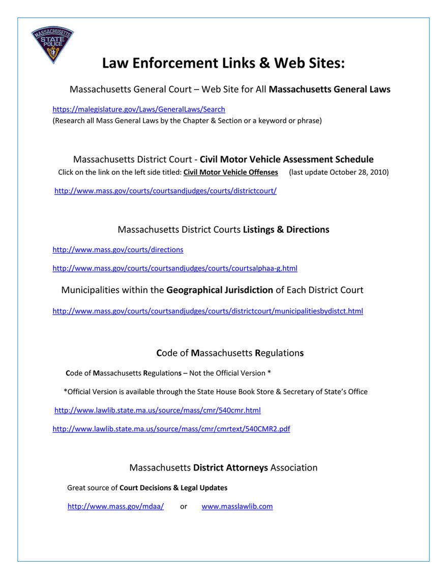 My publications - 2015-2016 M V  Law Quick Reference Guide