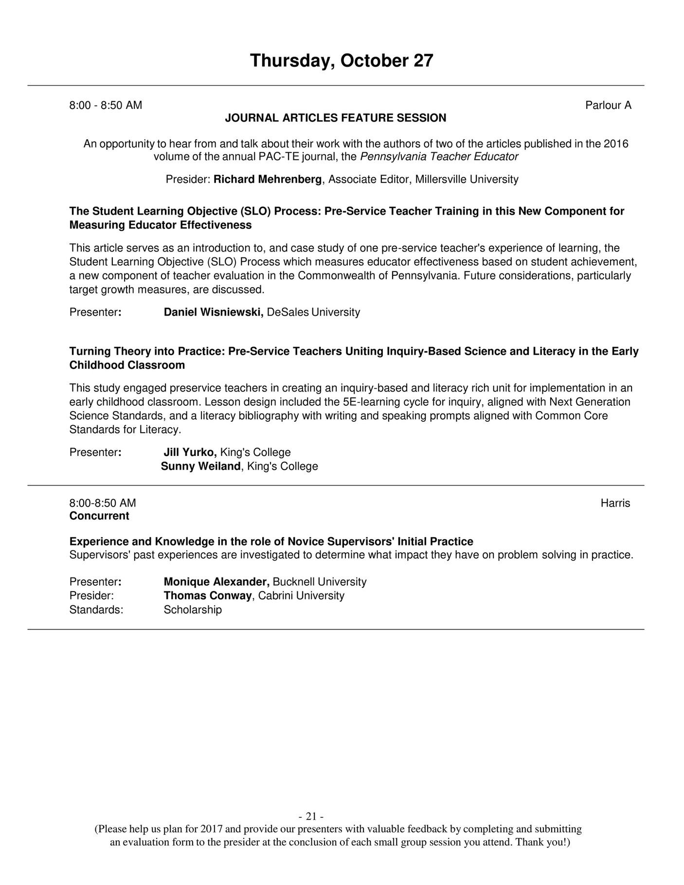 My publications PACTE TEA 2016 Program Page 2021 Created – Small Group Evaluation Form
