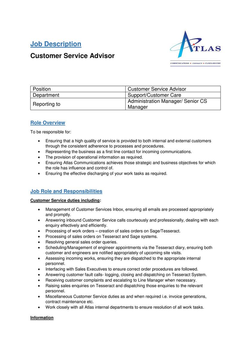 Internal communications advisor job description
