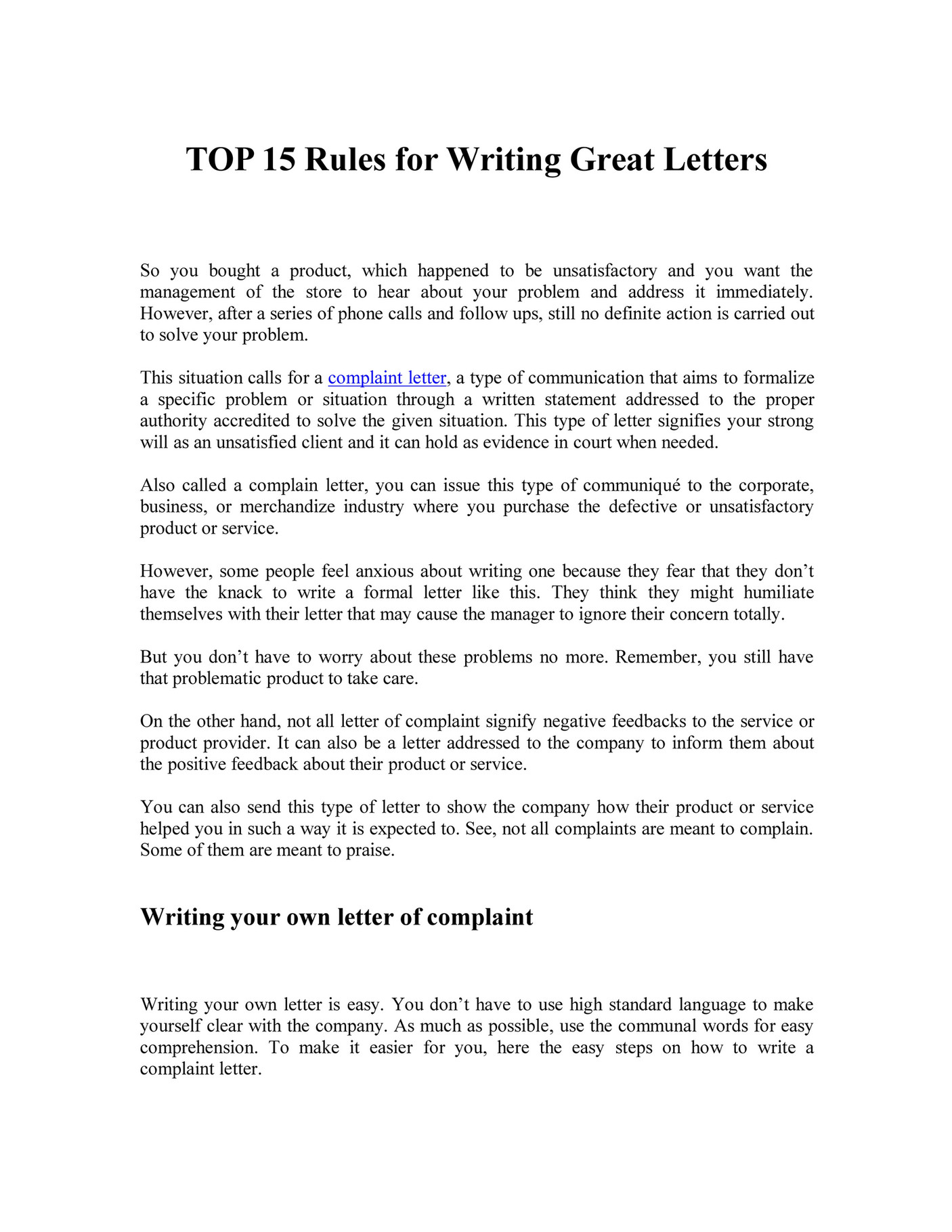 Letterwritingservice Little Known 15 Rules In Writing Effective