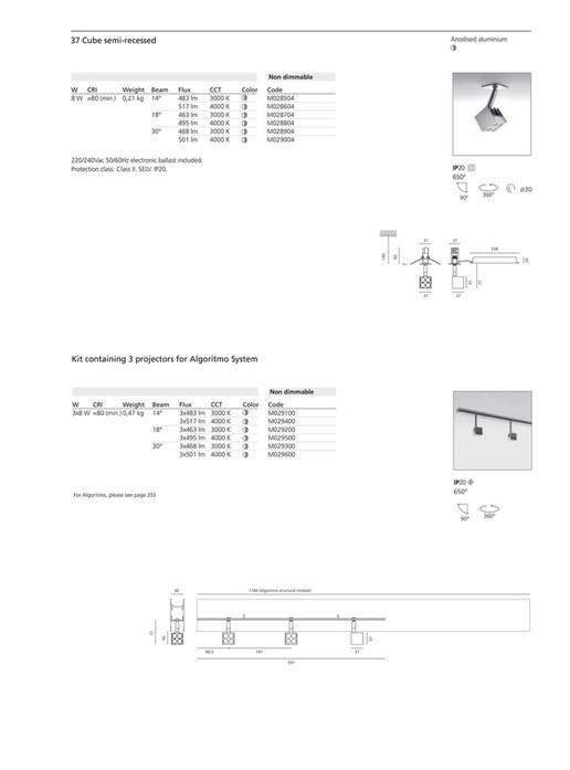 Lumen arts artemide architectural 2017 page 130 131 created 37 cube semi recessed anodised aluminium non dimmable cri w 8 w 80 ccuart Images