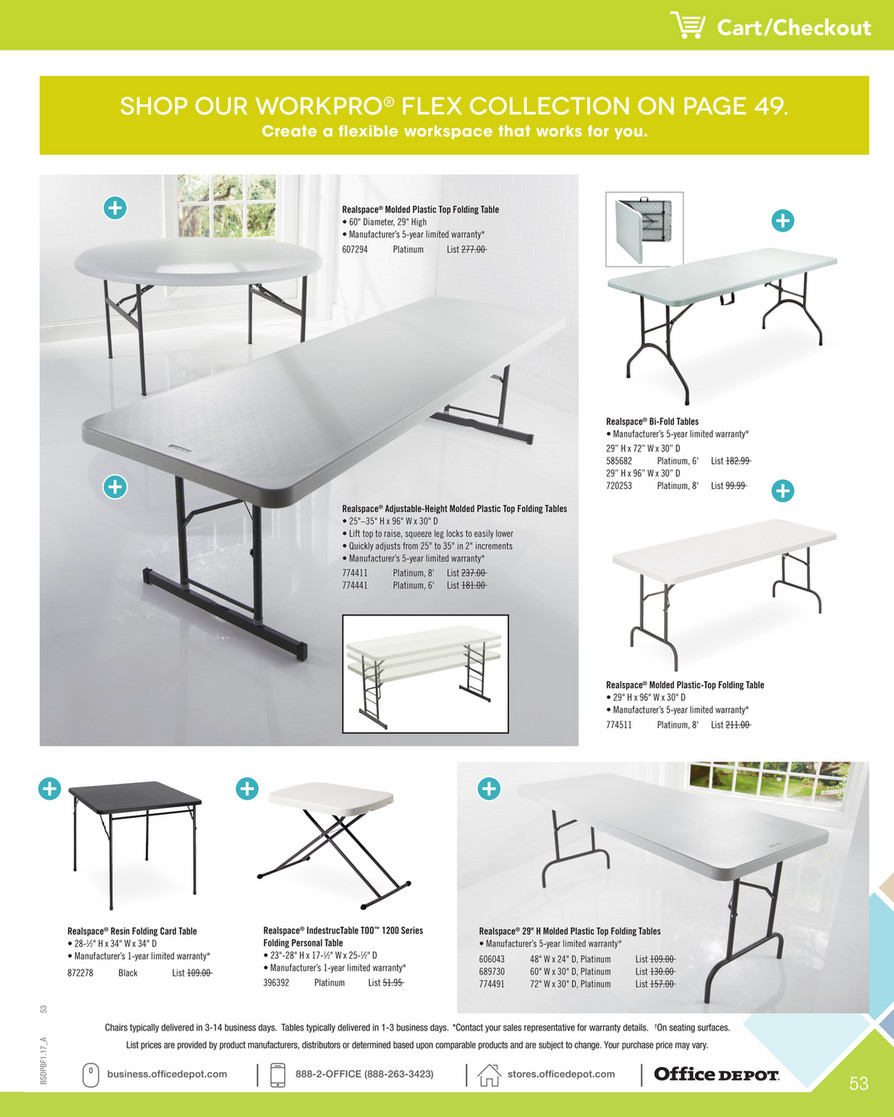 Platinum 8W Realspace Adjustable-Height Molded Plastic Top Folding Table