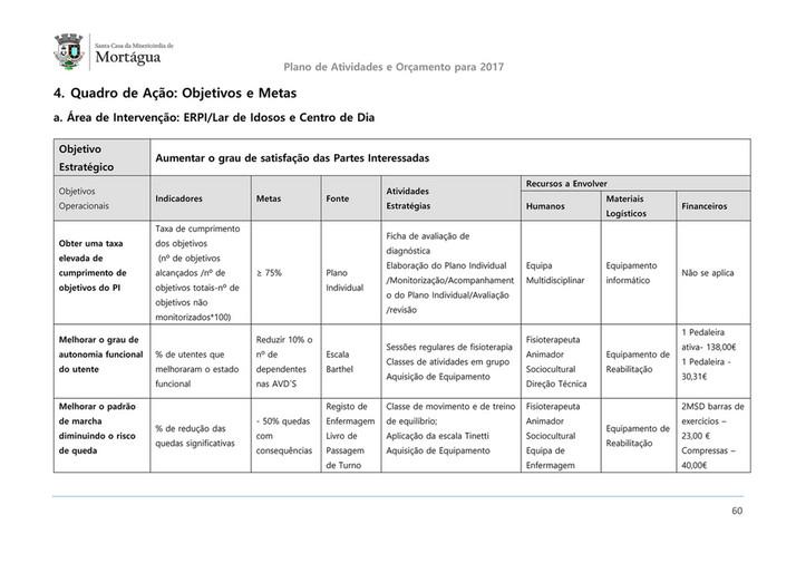 4e92c40944 Plano de Atividades e Orçamento para 2017 4. Quadro de Ação  Objetivos e  Metas ...
