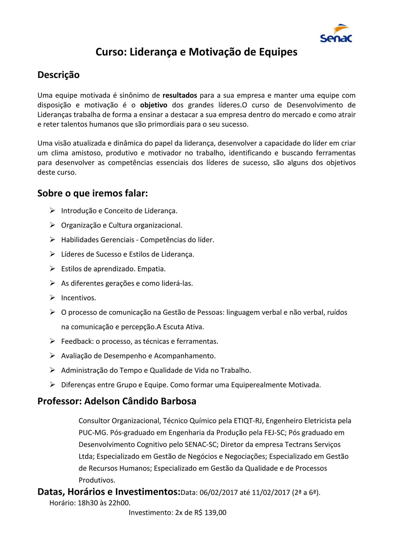 Senac Liderança E Motivação De Equipes Page 1 Created