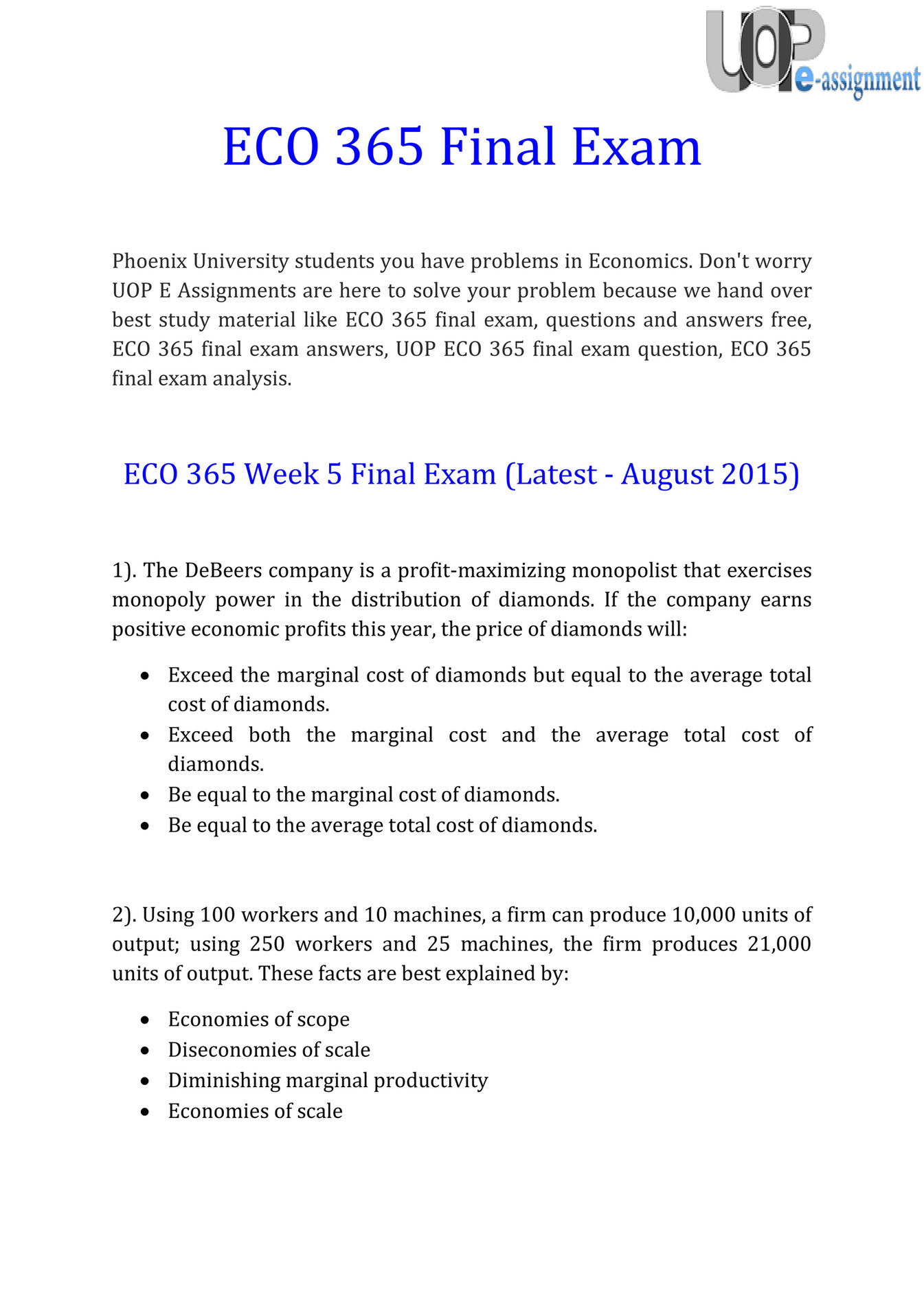 UOP E Assignments - ECO 365 Final Exam : Question & Answers | UOP E