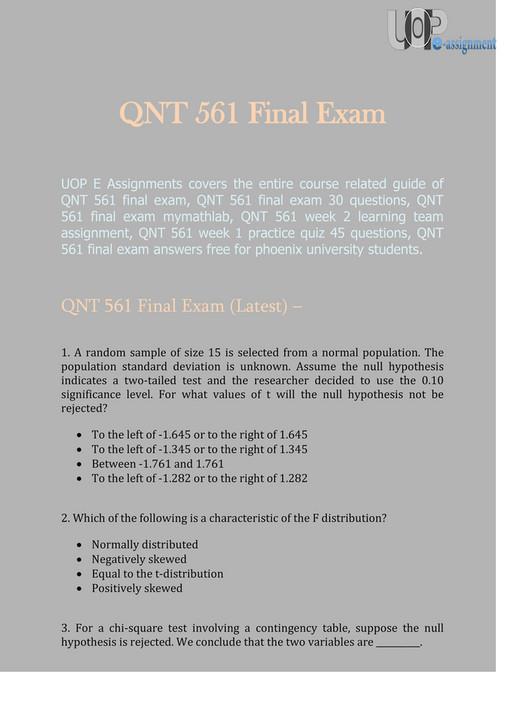 UOP E Assignments QNT QNT 561 Final Exam UOP E