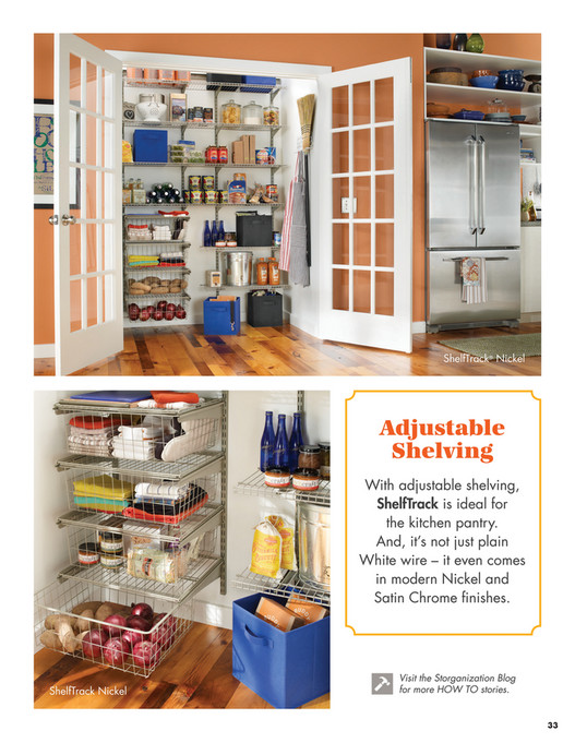 ShelfTrack ShelfTrack® Nickel Adjustable Shelving With Adjustable Shelving,  ShelfTrack Is Ideal For The Kitchen Pantry