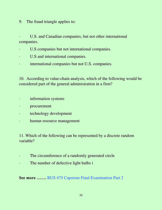 UOP Students - BUS 475 Capstone Final Examination Part 2 - Business