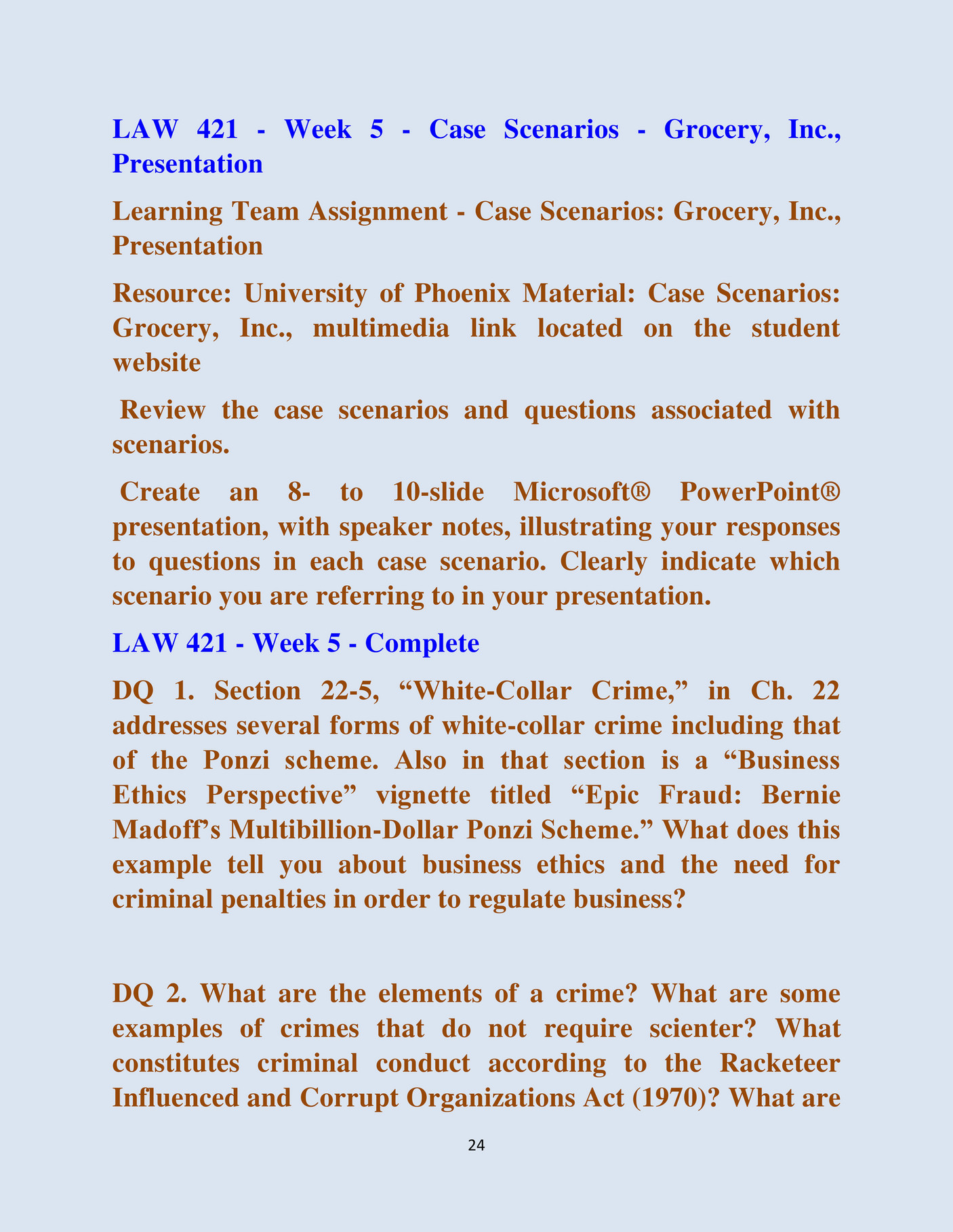 week 4 law 421 case scenario Case scenario week 4 law 421 - download as word doc (doc / docx), pdf file (pdf), text file (txt) or read online scribd is the world's largest social reading and publishing site search search.