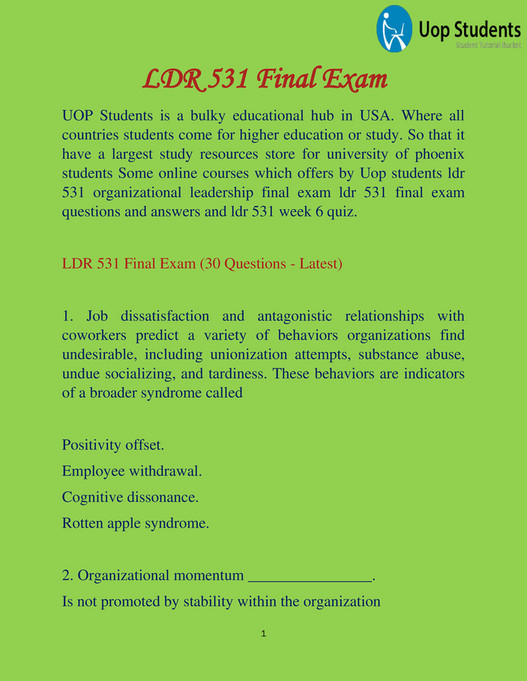 UOP Students - LDR 531 : LDR 531 Final Exam Latest Questions and