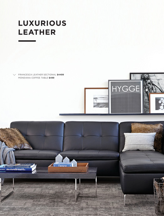 LUXURIOUS LEATHER u003c u2013 HEADLINE HERE FRANCESCA LEATHER SECTIONAL $4499 MONDIANA COFFEE TABLE $499 SUMMER ...  sc 1 st  Publitas : francesca leather sectional - Sectionals, Sofas & Couches