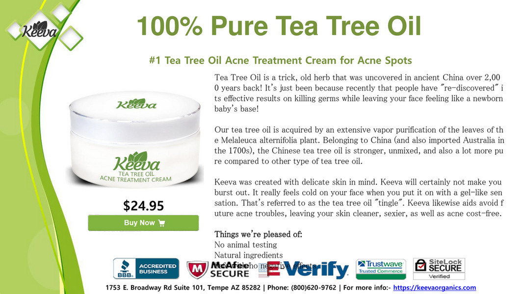 100% Pure Tea Tree Oil #1 Tea Tree Oil Acne Treatment Cream for Acne