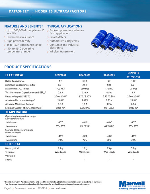 CAPACITOR FAKS - Maxwell HC Series Supercapacitors - Page 1