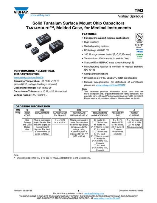 CAPACITOR FAKS - Vishay TM3 Series Tantalum Capacitors - Page 1