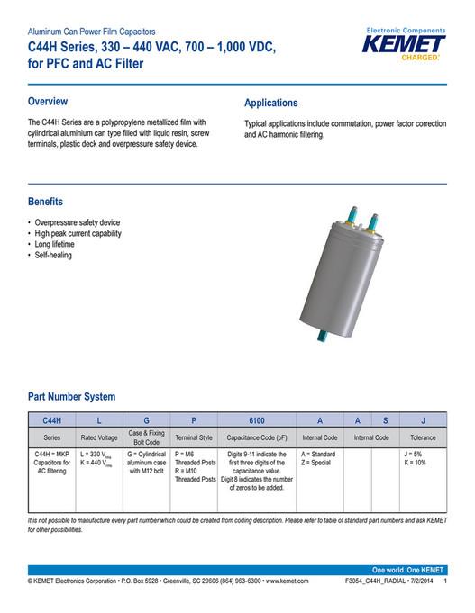CAPACITOR FAKS - KEMET C44H Series Plastic Film Capacitors