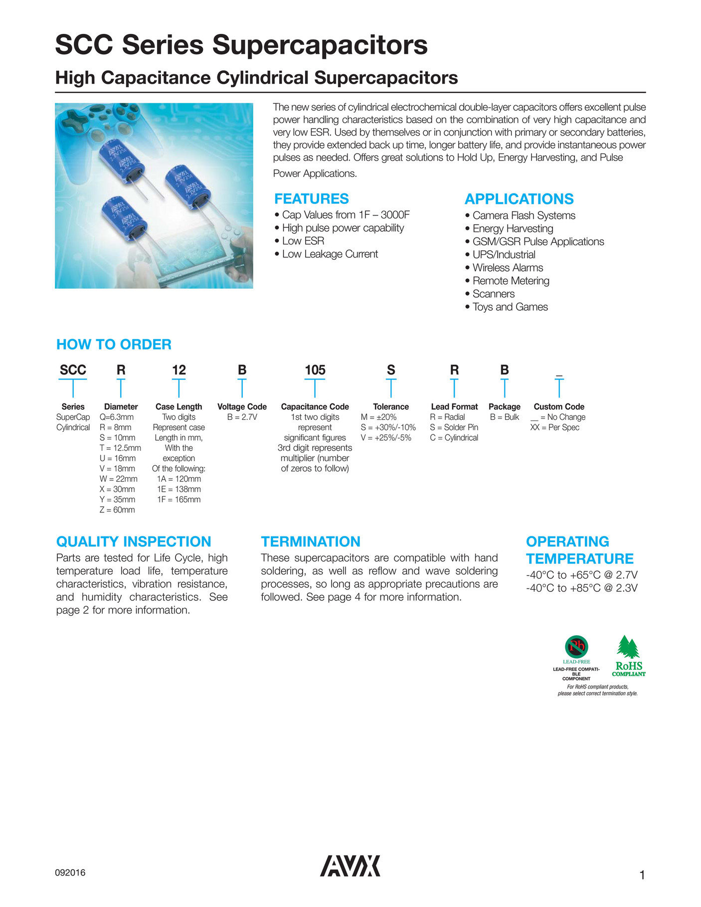 CAPACITOR FAKS - AVX SCC Series Supercapacitors - Page 1