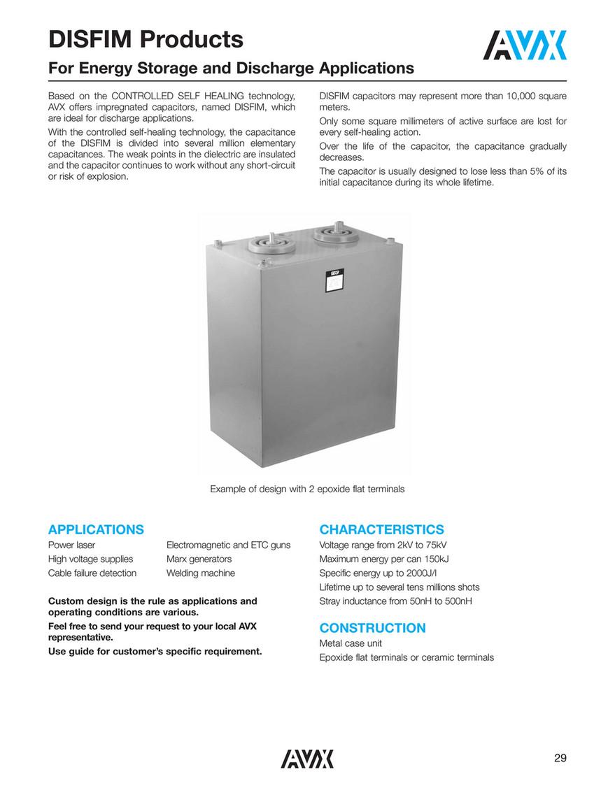 CAPACITOR FAKS - AVX DISFIM Series Film Capacitors - Page 1