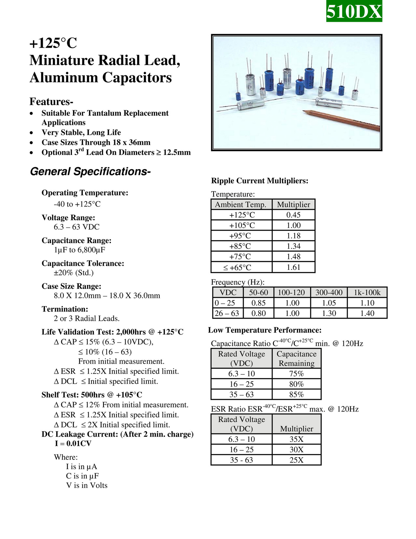 CAPACITOR FAKS - BMI 510DX Series Aluminum Capacitors - Page 1