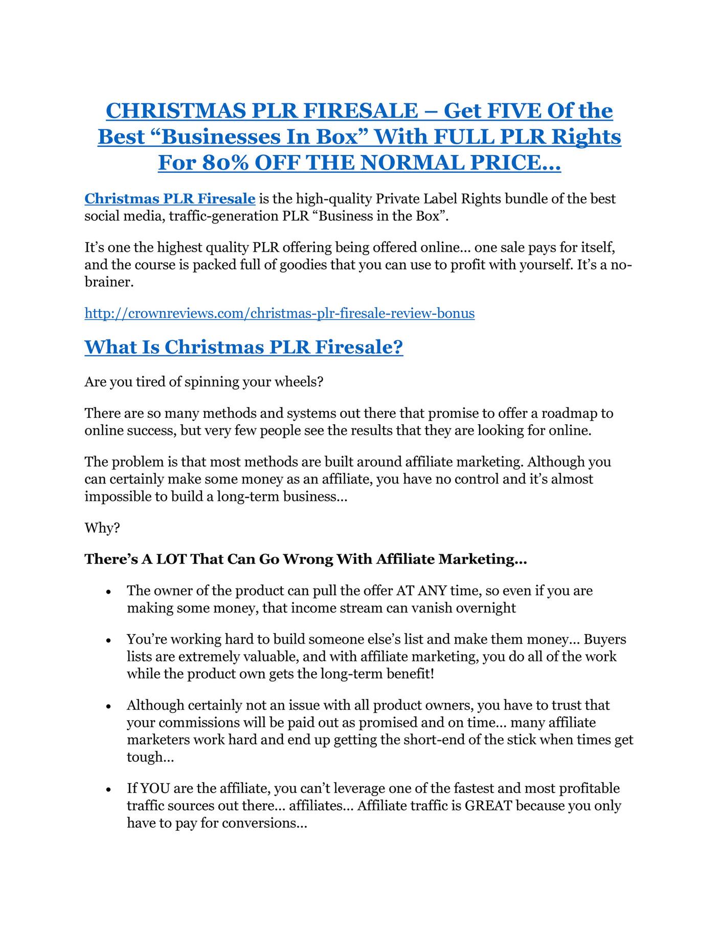 HHT - CHRISTMAS PLR FIRESALE Review-$9700 Bonus & 80% Discount ...