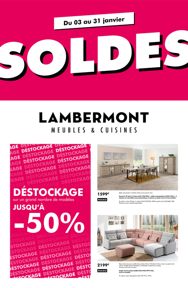 Folder Meubles et cuisines Lambermont du 03/01/2020 au 31/01/2020 - Soldes