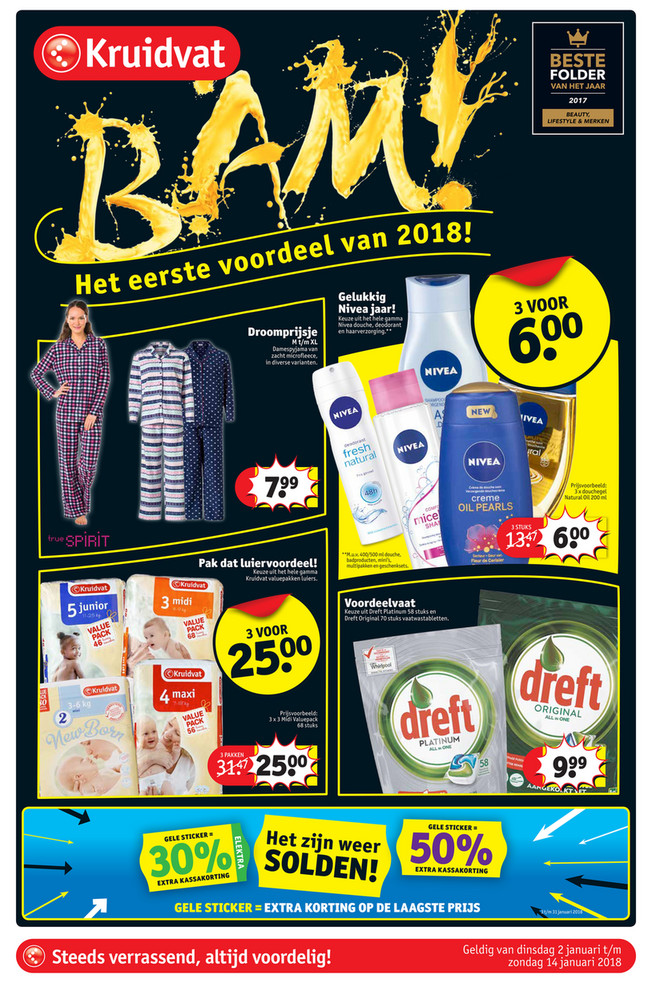 Kruidvat folder van 03/01/2018 tot 14/01/2018 - Krant NL Winter Solden 2018