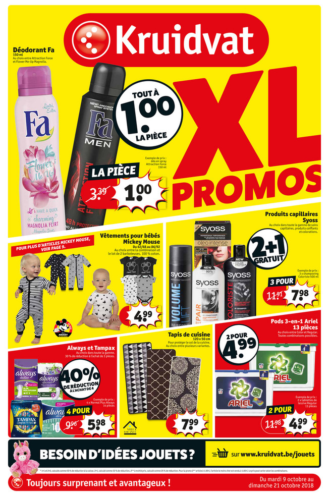 Folder Kruidvat du 09/10/2018 au 21/10/2018 - Promotions de la semaine 41