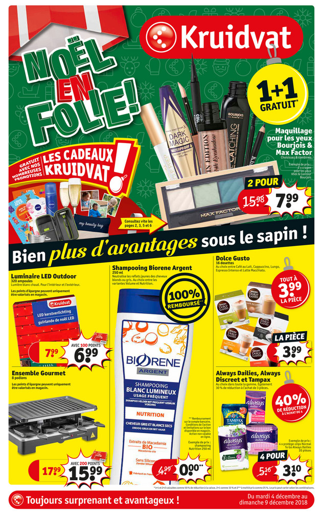 Folder Kruidvat du 04/12/2018 au 09/12/2018 - Promotions de la semaine 49