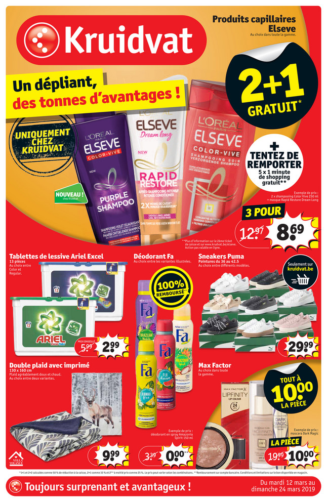 Folder Kruidvat du 12/03/2019 au 24/03/2019 - Promotions de la semaine 11