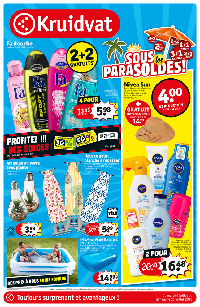 Folder Kruidvat du 09/07/2019 au 21/07/2019 - Promotions de la semaine 28