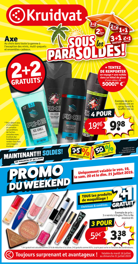 Folder Kruidvat du 16/07/2019 au 21/07/2019 - Promotions de la semaine 29