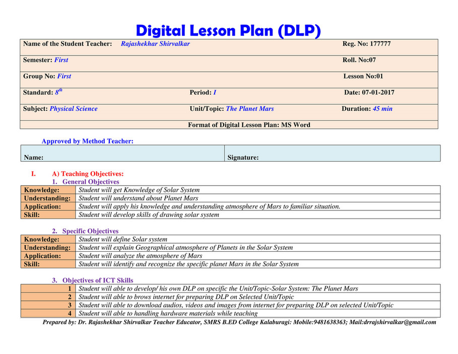 My Publications  Sample Of Digital Lesson PlanDlp  Page