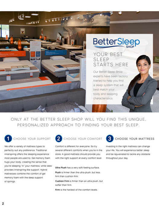YO U R B EST SLEEP STA RT S H E Our Better Sleep Shop Experts Have Been Factory Trained