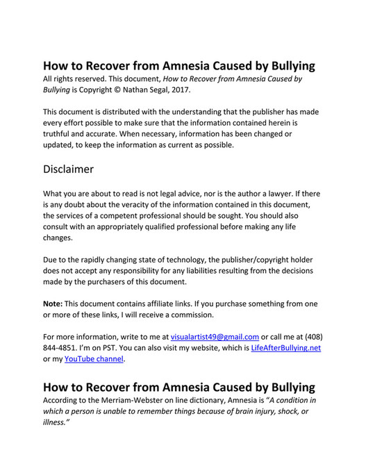 Nathan Segal - How to Recover from Amnesia Caused by Bullying - Page