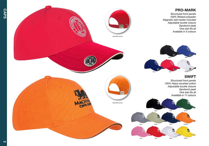 26fac5e6 CAPS PRO-MARK Structured front panels 100% Ribbed polyester Magnetic ball  marker included Adjustable