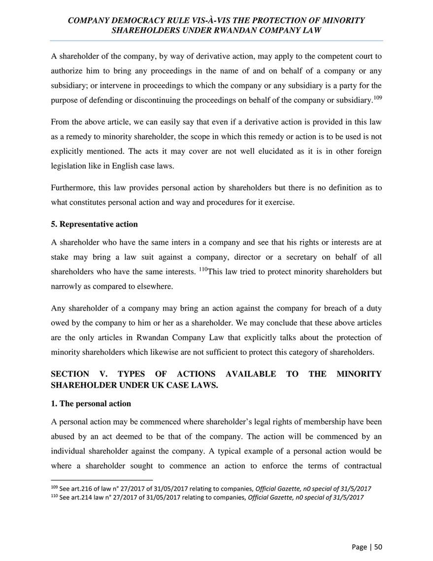 UNIVERSITY OF RWANDA - COMPANY DEMOCRACY RULE VIS-A-VIS THE
