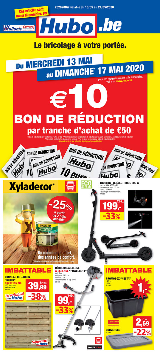 Folder Hubo du 13/05/2020 au 24/05/2020 - Promotions de la semaine 20