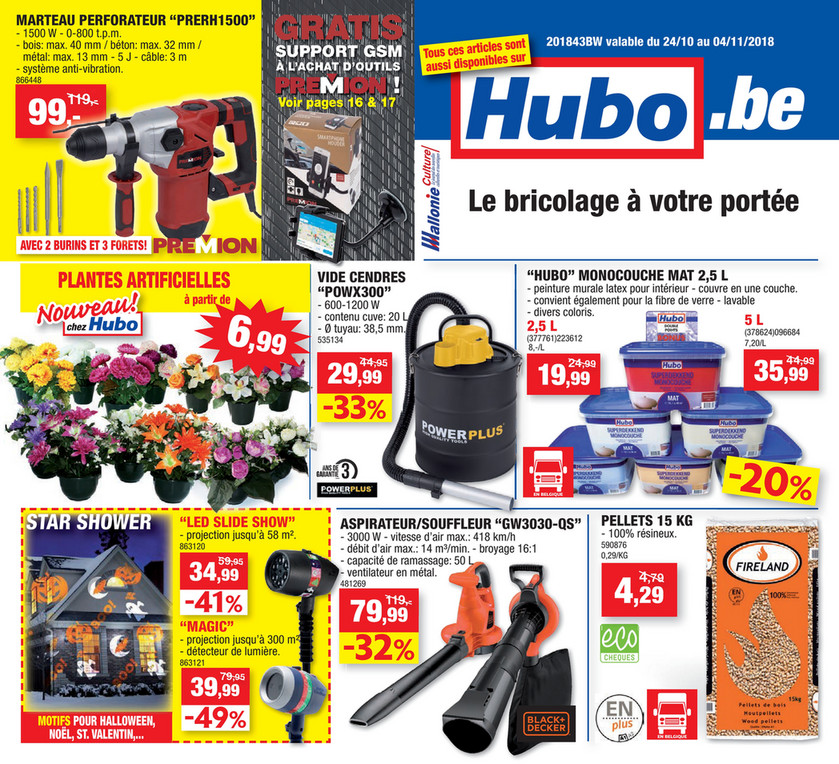 Folder Hubo du 24/10/2018 au 04/11/2018 - Promotions de la semaine 43