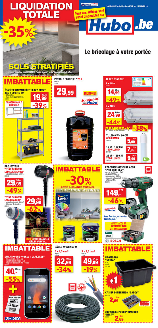 Folder Hubo du 05/12/2018 au 16/12/2018 - Promotions de la semaine 49