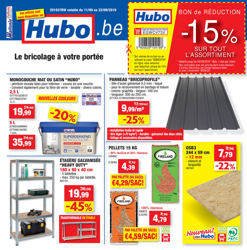 Folder Hubo du 11/09/2019 au 22/09/2019 - promotions de la semaine 37