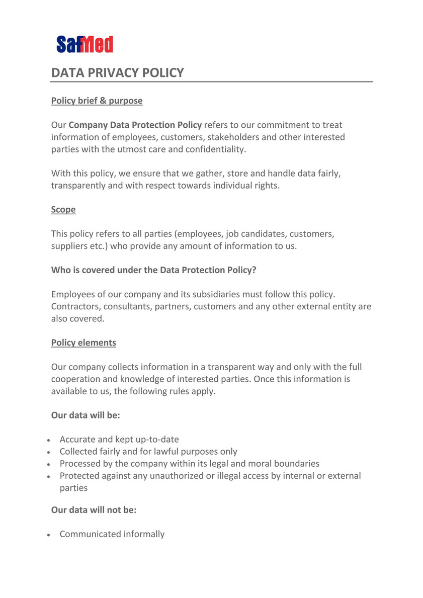 Data Privacy Policy >> Safmed Safmed Data Privacy Policy Page 1 Created With