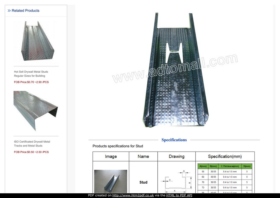 ADTO - Fireproof galvanized steel stud framing general sizes - Page ...