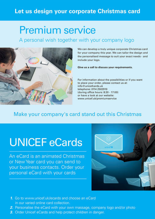 My publications unicef uk cards gifts corporate collection 2016 17 let us design your corporate christmas card premium service a personal wish together with your reheart Choice Image