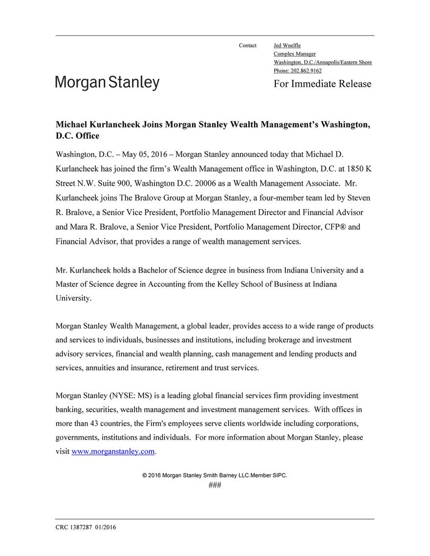 bob boberts - Michael Kurlancheek Joins Morgan Stanley Wealth
