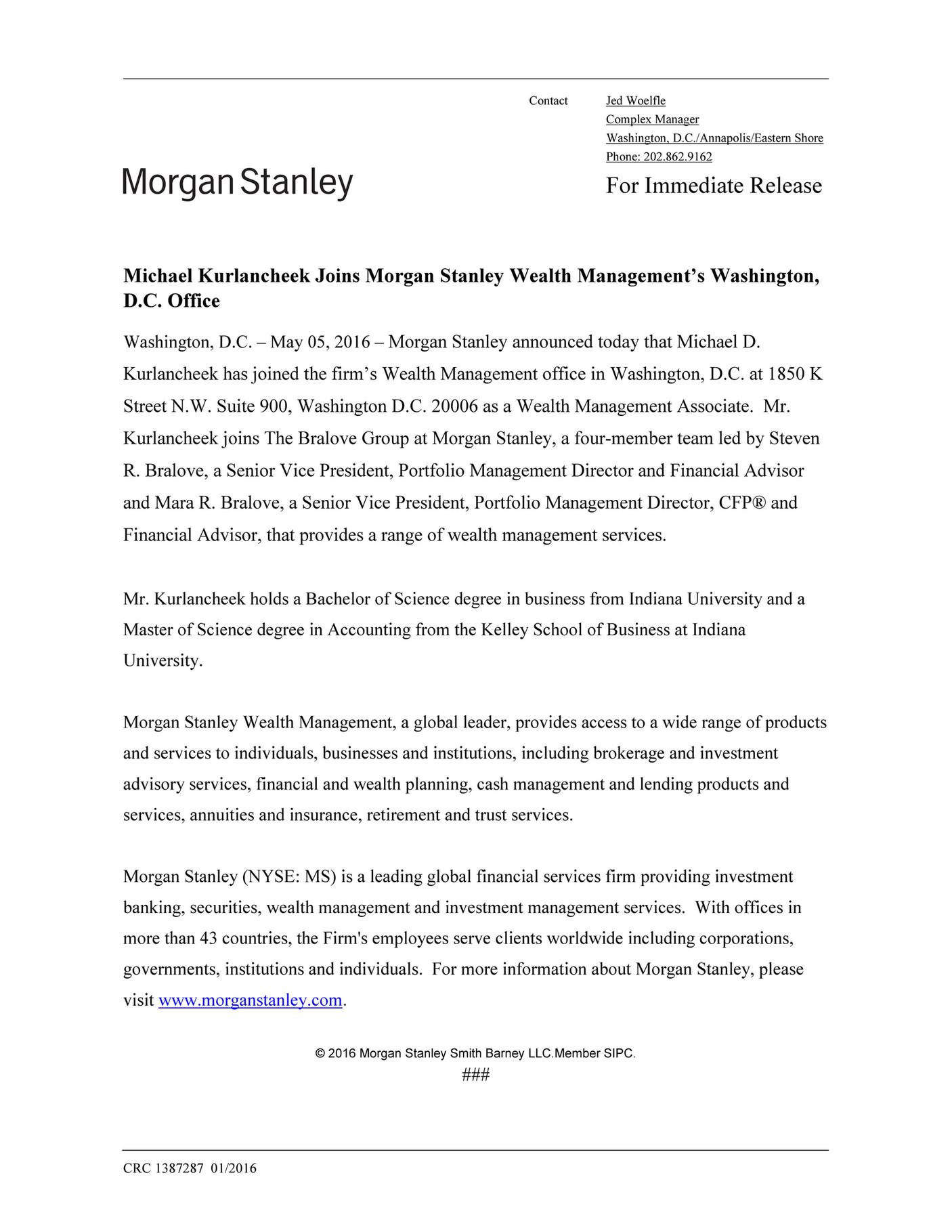 bob boberts - Michael Kurlancheek Joins Morgan Stanley